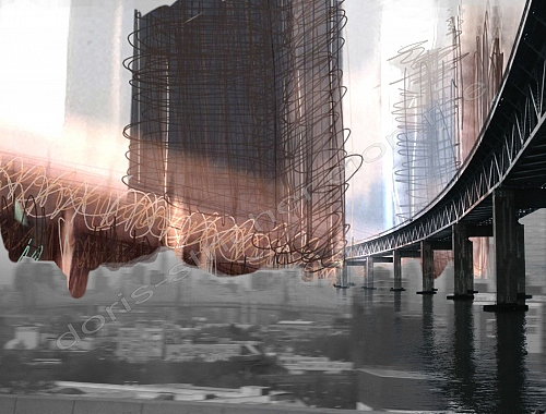 NYC DOT - not the Brooklyn bridge - photography+photomontage+digiart+drawin - © Doris Stricher