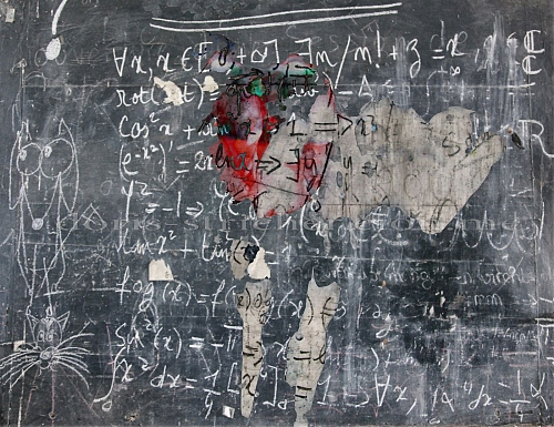 Mathematics on a blackboard and shapes! Mix photography with drawings - © Doris Stricher