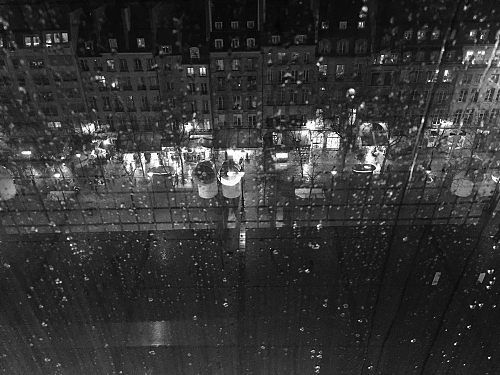 Roofs of Paris by night at a rainy day- Black and white Photography  - © Doris Stricher